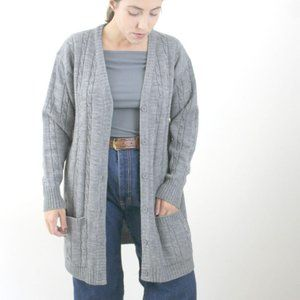 Vintage | 70s 80s Gray Long Cardigan Knit Sweater